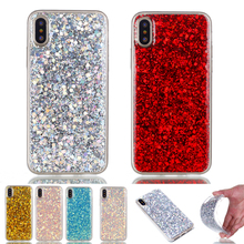 For iphone X case Fashion Bling Shining Powder Sequins Case x Silicone Glitter Back Cover iphoneX Phone