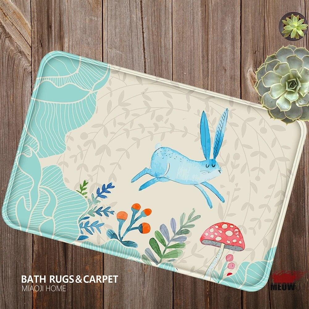 Miaoji Watercolor Animals Cute Rabbit Bunny Flowers Bees Soft Carpet Doormat Bath Mat Absorbent Non Slip 40x60cm Soft Carpet Carpet Softcarpeting Carpets Aliexpress