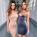 2017 de primavera y verano de las mujeres mini dress nuevo estilo sexy profunda V Ahueca Hacia Fuera con cordones de Terciopelo Vestidos de Fiesta Femenina Elegante Del Vendaje dress