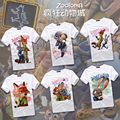 Full Color print!Zootopia Nick and Judy Couple Cosplay t-shirt summer top tshirt in stock free shipping 2016