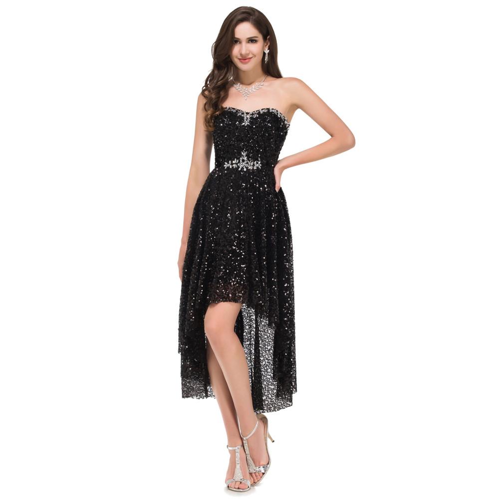 Grace Karin High Low Black Prom Dresses 2017 Short Front Long Back Evening Dress Vestidos de Festa Sequins Prom Dresses 8915 6