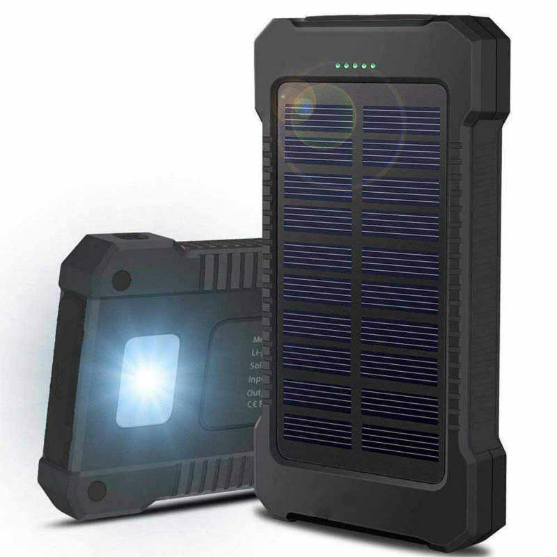 2019 جديد المحمولة للماء خزان طاقة يعمل بالطاقة الشمسية 30000 mah ثنائي USB البطارية الشمسية شاحن باوربانك لجميع الهاتف العالمي شاحن