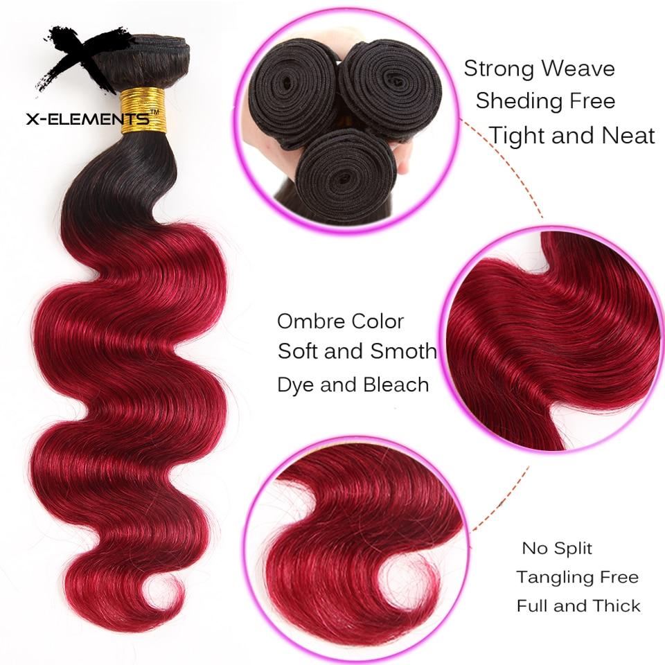 X-Elements Brazilian Ombre Body Wave Hair Bundles T1B 30 Burgundy 39J Purple Colored Human Hair Weave Non-Remy Hair Extensions (7)