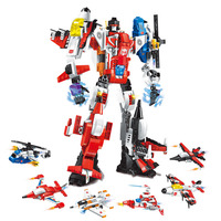 506 PCS 6 In 1 Deformation Armor Warrior Building Blocks Helicopter Fighter DIY Compatible Block Figures Toys For Children Gifts