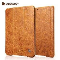Funda de Tablet inteligente Vintage Jisoncase para iPad 9,7 2017 fundas de cuero genuino con tapa imán nuevo para iPad Air 1 Air 2 9,7 pulgadas