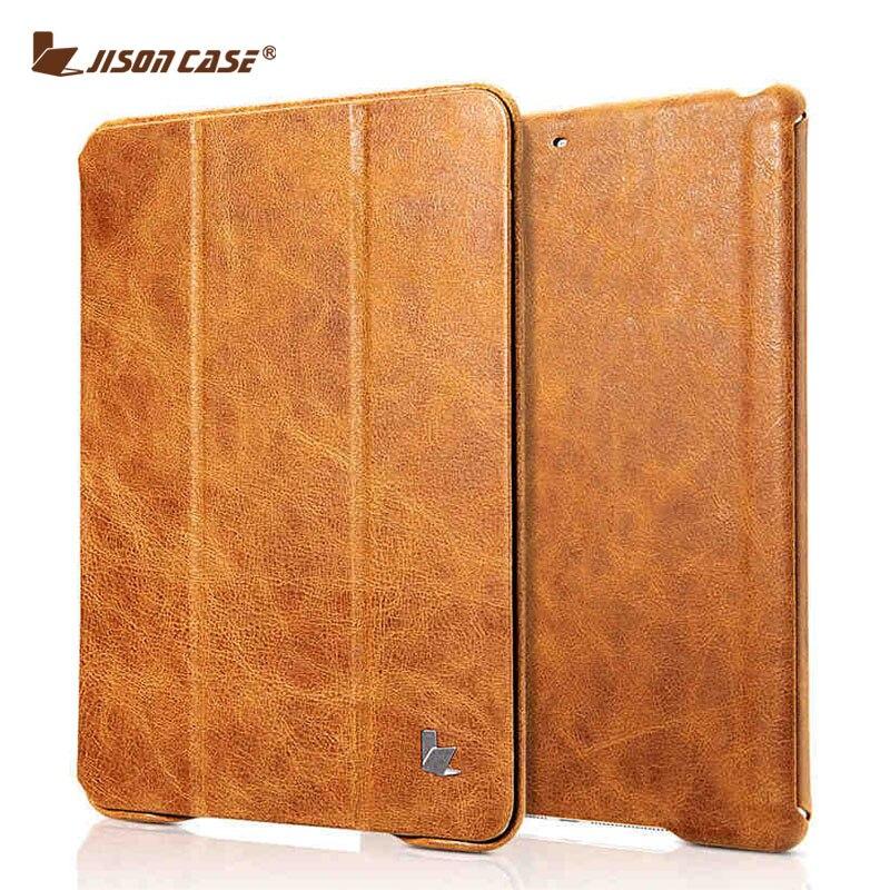 Jisoncase Винтаж Smart планшеты Чехол для iPad 9,7 2017 пояса из натуральной кожи Чехлы перевёртыши магнит новый iPad Air 1 Air 2 дюймов