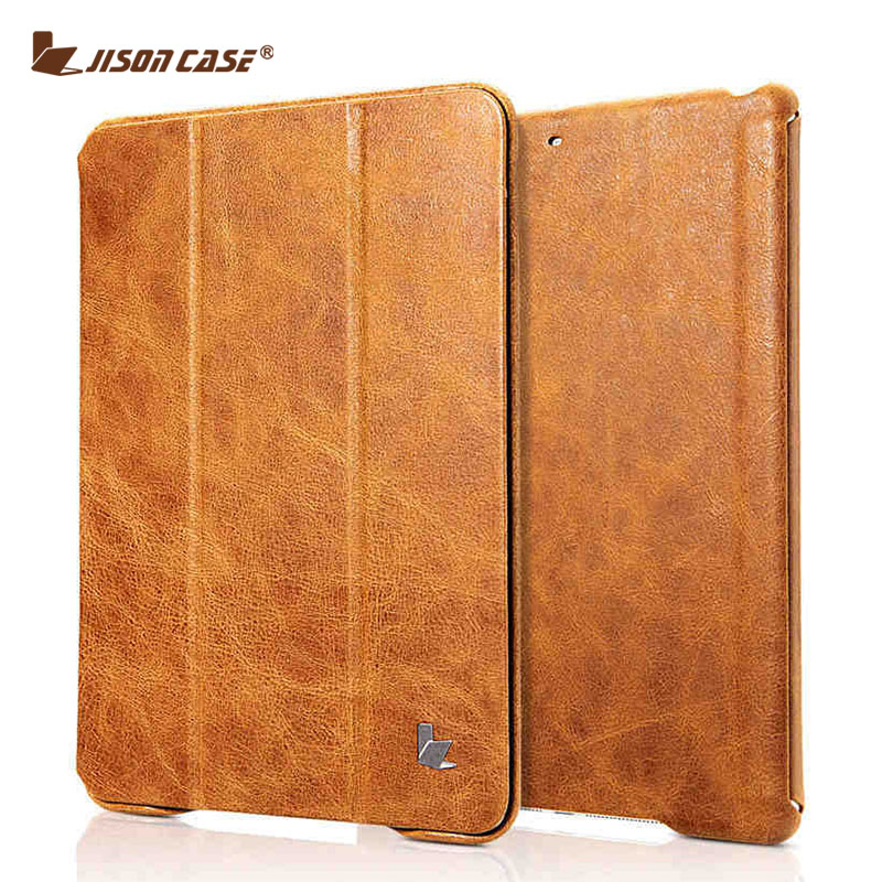 Jisoncase Vintage Smart Tablet Cover For iPad 9.7 2017 Genuine Leather Flip Cases Magnet New for iPad Air 1 Air 2 9.7 inch jisoncase smart case for apple ipad 9 7 inch 2017 cover genuine leather tablets folding magnet flip air 1 2