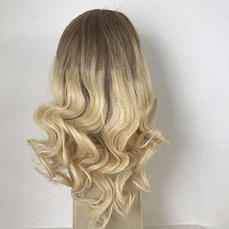 Full Shine Balayage Lace Front Hair Wig Ombre Color 6 Fading To 613 Blonde 100 Remy