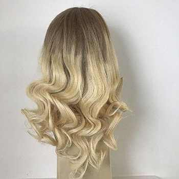 Full Shine Balayage Lace Front Hair Wig Ombre Color 6Fading To 613 Blonde Machine Remy Human Hair Lace Front Wig With Baby Hair - DISCOUNT ITEM  12% OFF All Category