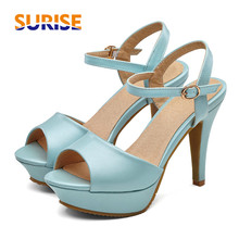 3b99769e3eb679 Casual Woman Sandals 10.5cm High Spike Heel Platform PU Leather Open Toe  Sexy Summer Ankle Strap Lady Blue Thin Stiletto Sandals