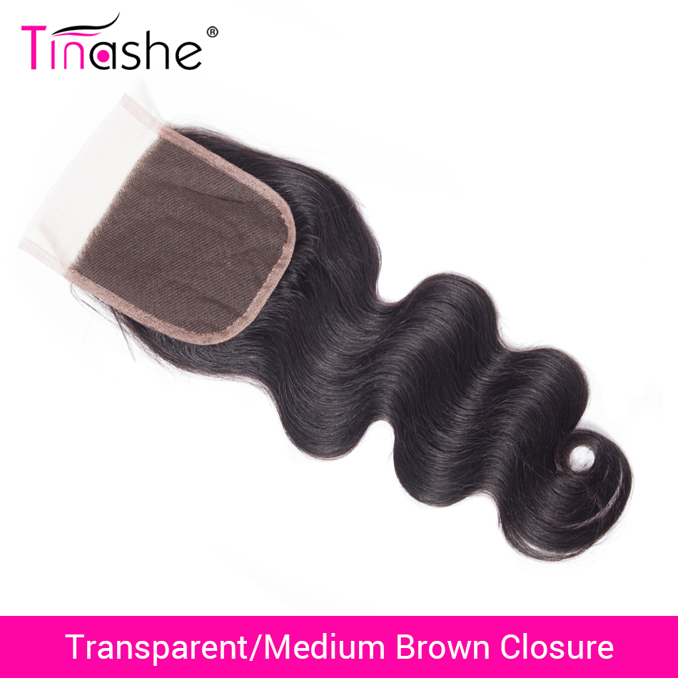 Tinashe Hair Brazilian Body Wave Lace Closure Transparent Lace Closure Remy Human Hair 4x4 Inch HD Swiss Lace Closure