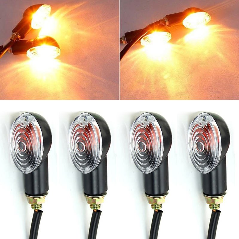 High Quality 4Pcs Universal Motorcycle LED Turn Signal Lamp 12V Flashing Blinker Indicator Light Amber Color For Motorbike
