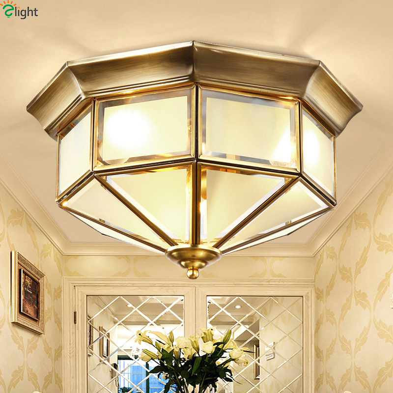 Europe Retro Glass Led Ceiling Lights Lamparas Lustre Copper Bedroom Led Ceiling Lamp Fixtures Corridor Ceiling Light Luminarias europe type restoring ancient ways is the copper single head ceiling lamp restaurant corridor corridor led to ceiling lamp
