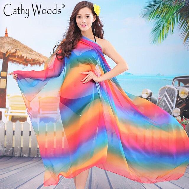 Marca de luxo De Seda Cachecol Mulheres Grande Rainbow Gradiente de Cor Longo Moda Chiffon De Seda Lenços Xales De Seda Lenços Foulard Echarpe