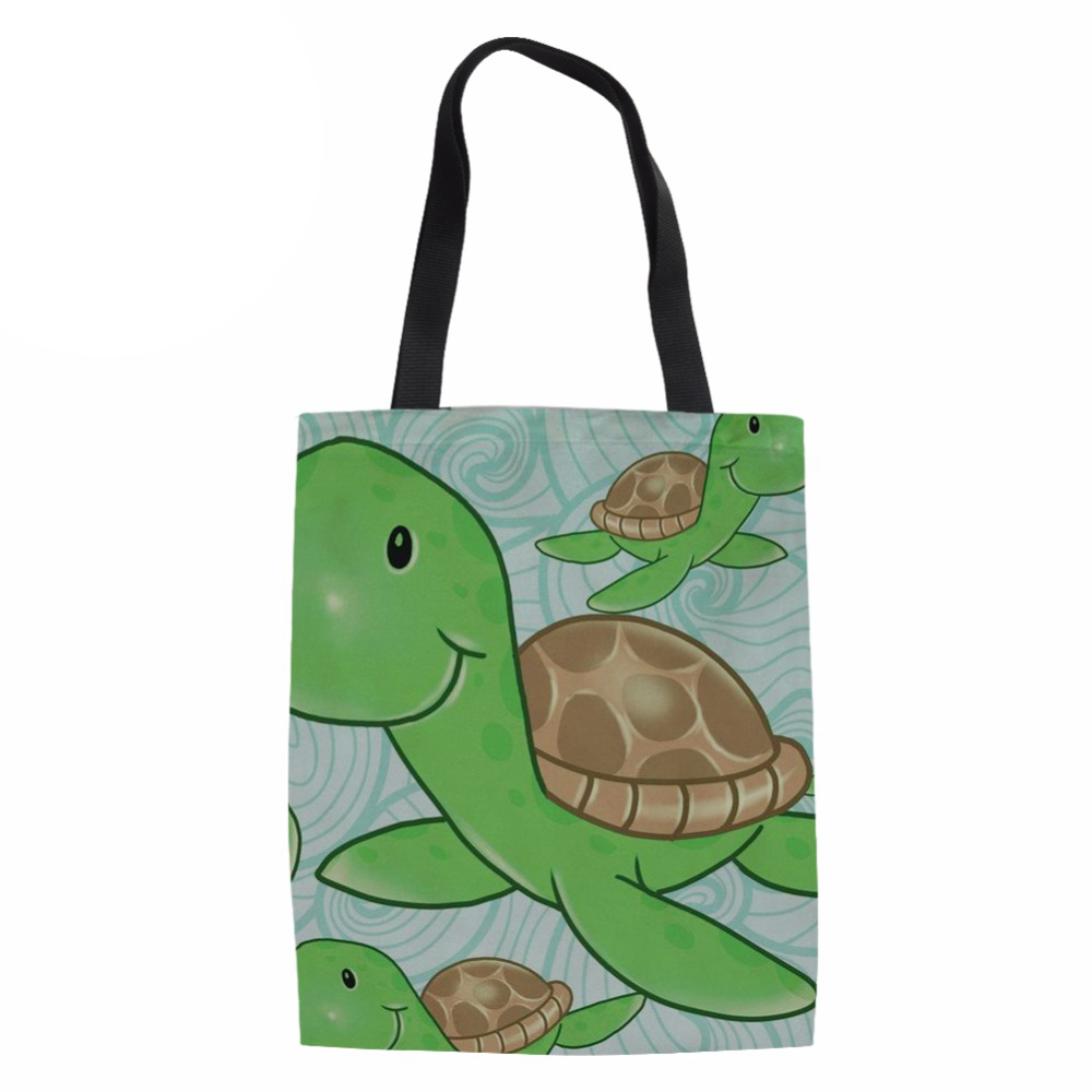 Ladies Beach Large Shoulder Bag Sea Turtle Canvas Shopping Tote Folding Eco Bag For Females Beach Travel Package
