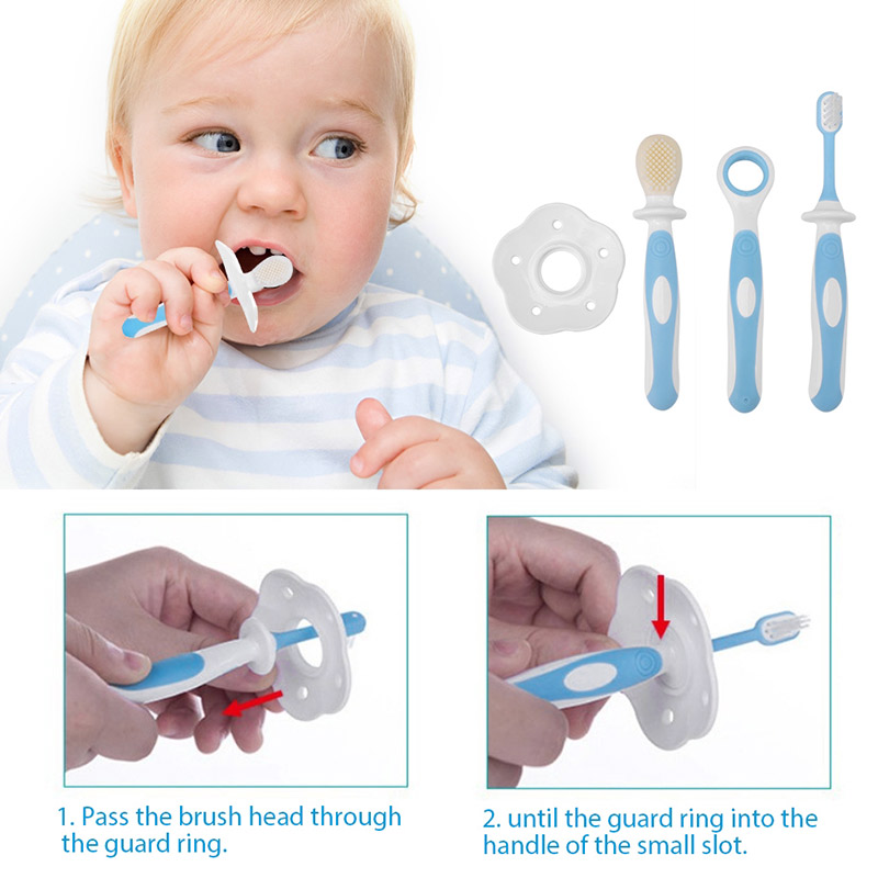 Baby Toothbrush Baby Training Brush Child Silicone Teether Blue/Pink 3in1 Eating Habit huawei mate x dobravel