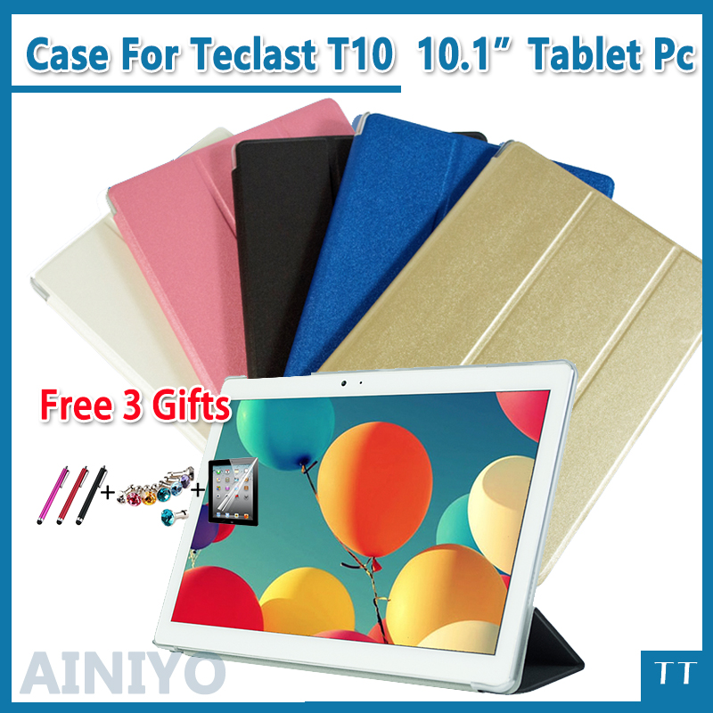 Ultra thin fashion pu leather case For Teclast T10 10.1 Tablet PC Protective Cover + protector + stylus gifts ultra thin smart flip pu leather cover for lenovo tab 2 a10 30 70f x30f x30m 10 1 tablet case screen protector stylus pen