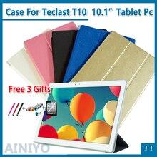 """Moda Ultra delgada de cuero de la pu Para Teclast T10 10.1 """"PC de la Tableta Cubierta Protectora + protector + stylus regalos"""