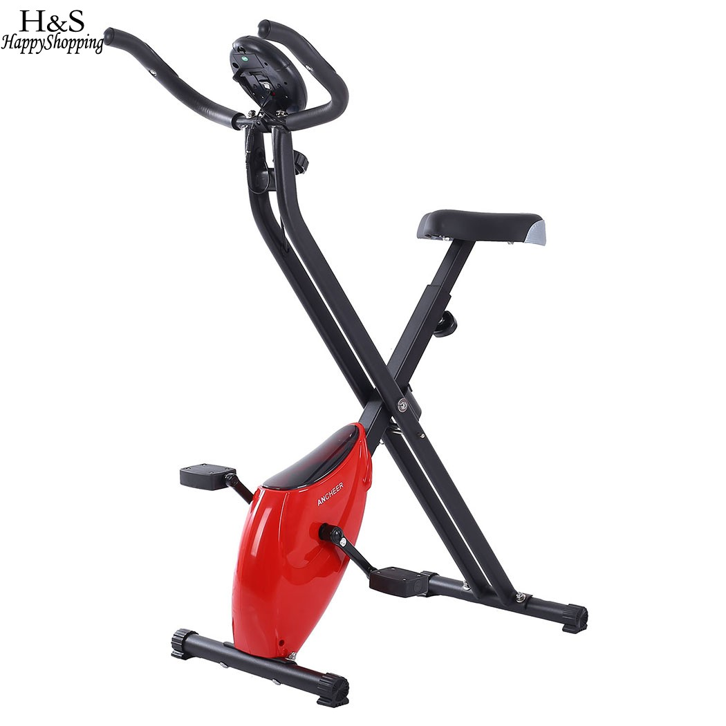 ANCHEER  new X-shape Folding Magnetic Upright Exercise Bike with Pulse Fitness Equipment 100Kg Magnetic Upright Exercise Bike ancheer new folding electric treadmill exercise equipment walking running machine gym home fitness treadmill