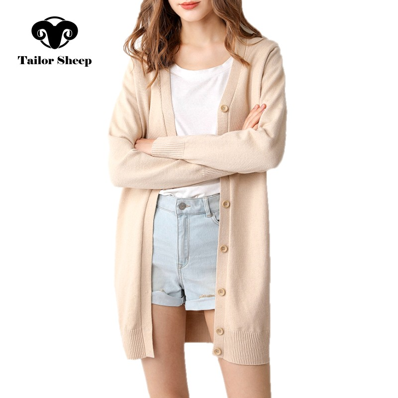19 Spring Autumn Long Cardigan Women's Sweater Knit Jacket Buttoned Outside Wearing Female Cardigans