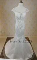 New Model Fashion Luxury Backless Mermaid Satin Wedding Dress Bridal Gown With Crystal ZH0607 Custom Size