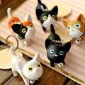 5 pcs Mini Gato Bonito Chaveiro Boneca de Vinil Boneca de Littlest Pet Shop LPS brinquedos Meninas Crianças Gato Boneca Presente da Criança Brinquedos LPS oyuncak Corrente Chave