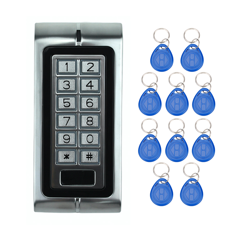 ФОТО Free Shipping K2 RFID Electric Door Locks With Digital Button+10 ID Key Fobs for Door Access Control Systemf With Metal keypad