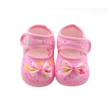 2017 Summer Baby Girl Cloth Soft Sole Shoes First Walkers Round Dot Prewalker Mary Jane Shoes With Bowknot Shoes(China)