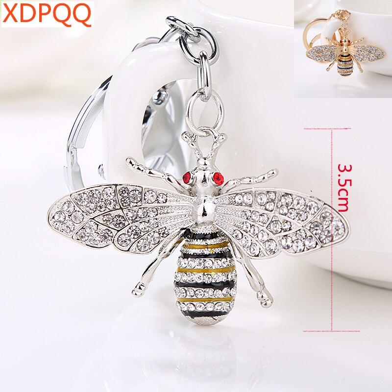 XDPQQ Brand Fashion Keychain Crystal Bee Key Chain Ms. Gift Wallet Pendant Cute Car Keychain
