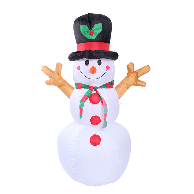 160cm Giant Snowman Inflatable Toy Santa Claus LED Lighted Christmas Halloween Oktoberfest Props Winter Party Blow Up Decoration