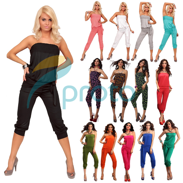 2015 New Fashion Women Casual Strapless One-piece Overall Women Jumpsuit and Rompers Summer Casual Jumpsuit 4005