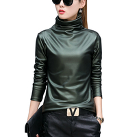 European Punk Plus Size Women Blouse Autumn Turtleneck Long Sleeve Tops Shirt Ladies Velvet Stretch Camisas