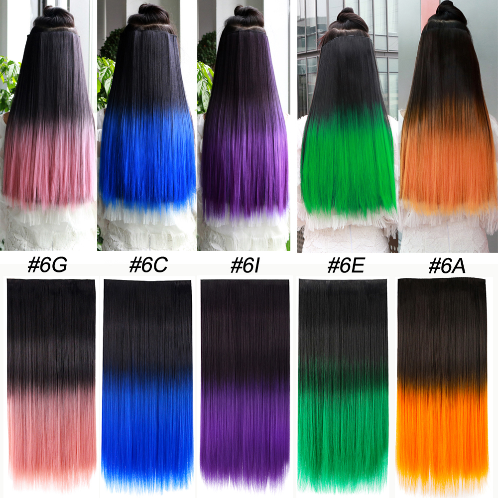 22'' Synthetic Ombre Color Hair 5 Clips In Extensions Dark Roots Straight Hairpieces For Girls Kids Women Heat Resistant Fiber
