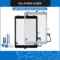 New 2017 A1822 A1823 Touch Screen For iPad 5th Generation 5 Digitizer Outer Panel Front Glass With home button + Sticker