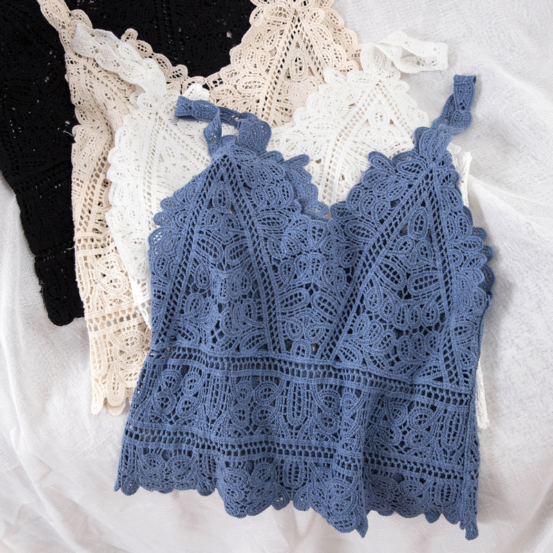Women Summer Sweet Short Style Hollow Out Lace Camis Fashion Vacation Beach Knitting Vest Top Womens Sexy Tanks Tops