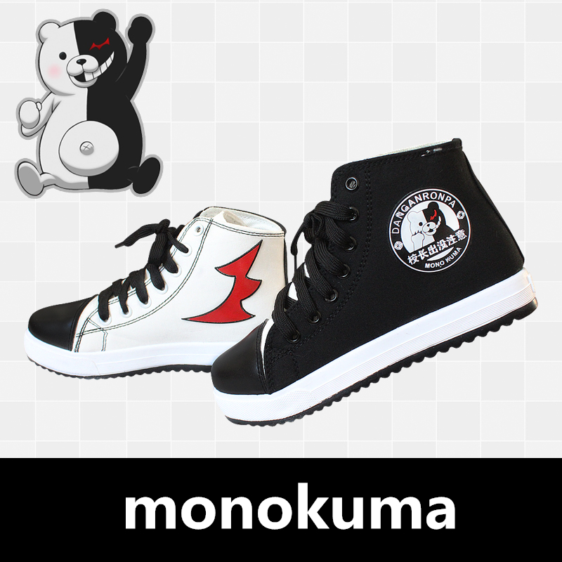 2019 New Anime <font><b>Danganronpa</b></font> Monokuma Cosplay Props Canvas Shoes Women Men Teens Sports Shoes Daily Casual Outdoor Travel Shoes image