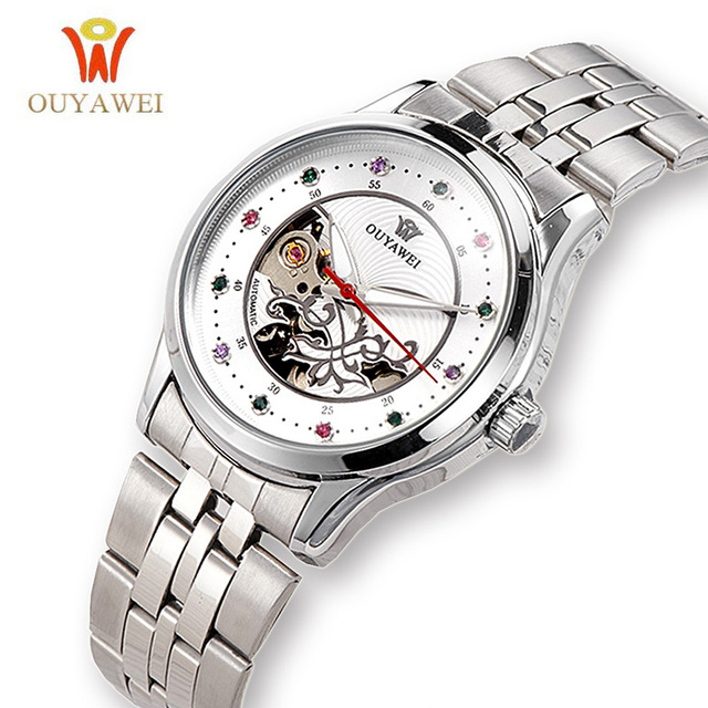 OUYAWEI Top Brand Women Mechanical Silver stainless steel Automatic Watch White Dial Ladies Dress Clock Fashion Skeleton Relogio