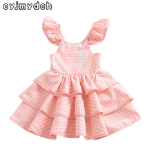 Popular Summer Backless Baby Girls Dresses Ruffles Sleeve Layered Princess Ball Gown Dress for girl Party Wedding