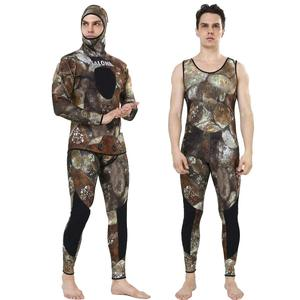 REALON Camuflage Spearfishing Wetsuit Men 3mm Neoprene Surf Two-piece Scuba Diving Suit Snorkeling Freediving Fishing Dry Suit