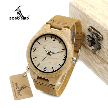 BOBO BIRD Bamboo Men Watches With Night Light Pointer Real Leather Quartz Watch relogio masculino Gift for Man Accept Logo W-A40 Quartz Watches