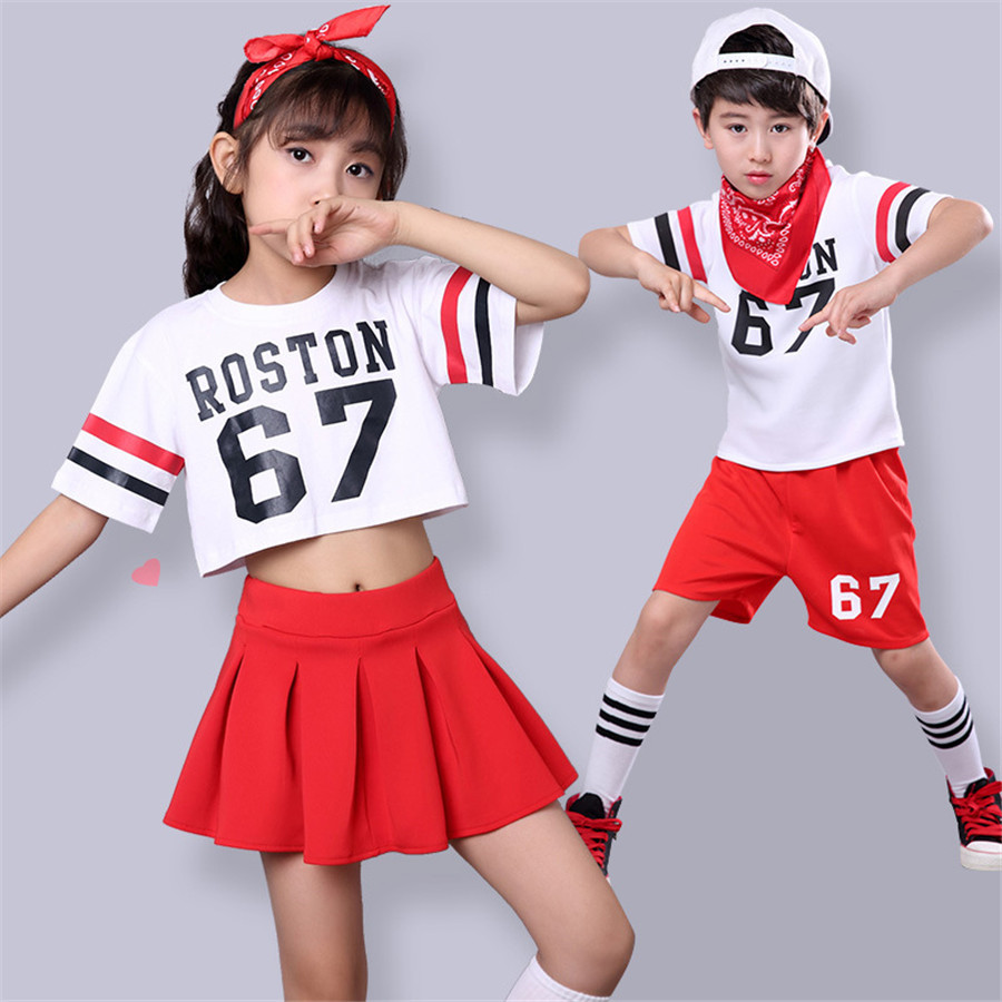 Kids Jazz Dance Costume Set Hip Hop ROSTON 67 Letter Printed Loose Cropped T Shirt Girls Fashion Dhirld Jazz Dance Costume Set