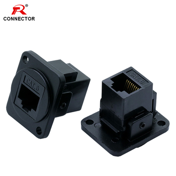 цена на 1PC RJ45 Connector, CAT.6, D type, 8P8C, Metal Shell+Copper Pins, Panel Mount Chassis RJ45 Female Socket Network Connector