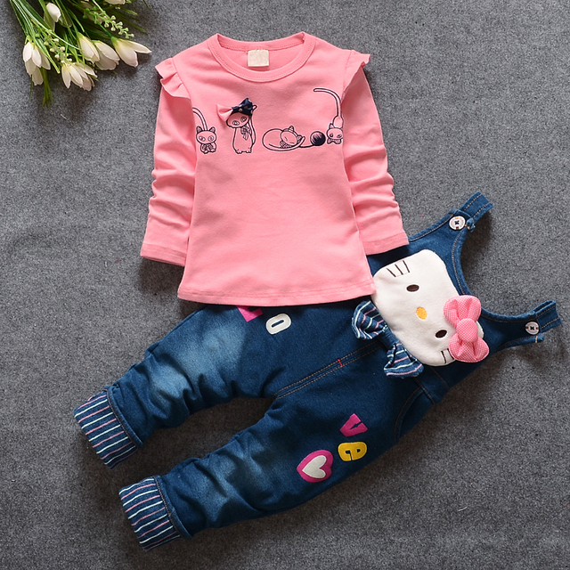 2016 Autumn Baby Girls Hello Kitty Clothing Set Children Denim overalls jeans pants +Blouse Full Sleeve Twinset Kids Clothes Set