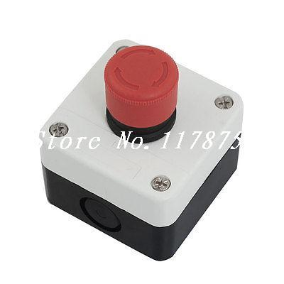 660V 10A N/C Red Emergency Stop Sign Ignition Locking Push Button Switch Station