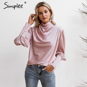 Image 4 - Simplee Vintage สีชมพูซาตินเสื้อผู้หญิงเต่าคอหรูหราเสื้อเสื้อแขนยาวแฟชั่น elegant party tops