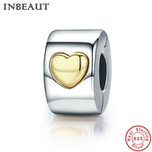 INBEAUT New Golden Heart Clip Charm 925 Sterling Silver Love Charms for Chain Bracelet Bead Fit Pandora Bracelet Women Jewelry