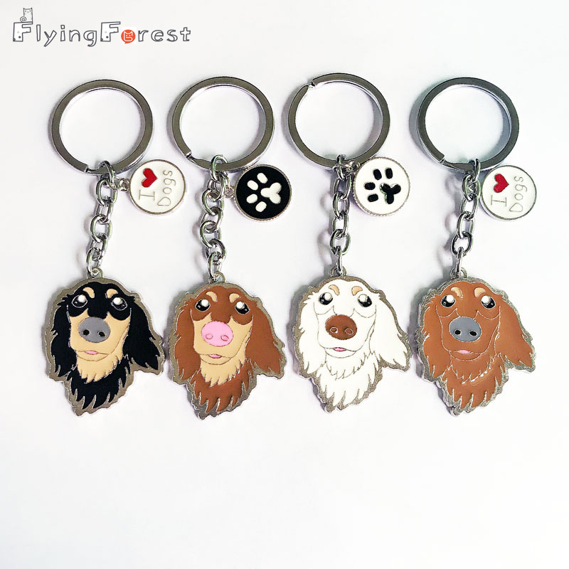 Dachshund Pet Dog Keychains Metal կախազարդ մեքենայի - Նորաձև զարդեր - Լուսանկար 4