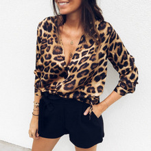 V neck sexy leopard print womens tops and blouses Long sleeve chiffon blouse shirt Vintage office ladies fashion blusas