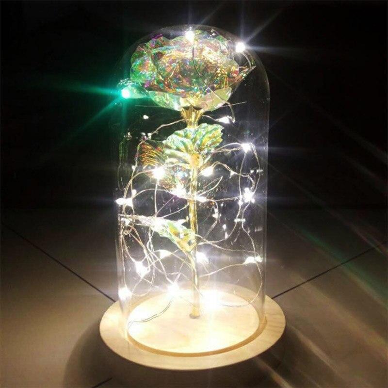 Obbediente Rosa Ha Condotto La Luce Filo Di Rame Luce Di Cupola Di Vetro Lampada Di Notte Micro Paesaggio Lbshipping