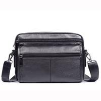 Top Quality Men Genuine Leather First Layer Cowhide Messenger Shoulder Bag Business Bag Vintage Casual Travel